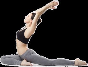Woman in black top and grey leggings doing yoga.