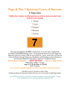 Post about the Yoga and the 7 Spiritual Laws of Success class offered by Forward Motion Yoga.