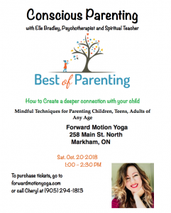 A poster for a Conscious Parenting workshop held at Forward Motion Yoga.