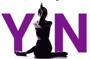 "Woman doing a yoga pose between the letters ""Y"" and ""N"" in purple."