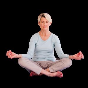 Woman at Forward Motion Yoga in meditation pose