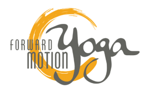 The Forward Motion Yoga logo, with text in dark grey and a yellow circle behind the text.