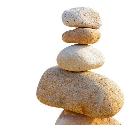 Five stones carefully balance on top of one another.