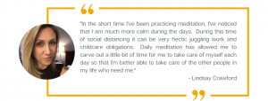 A testimonial from Lindsay Crawford, a customer of Forward Motion Yoga.